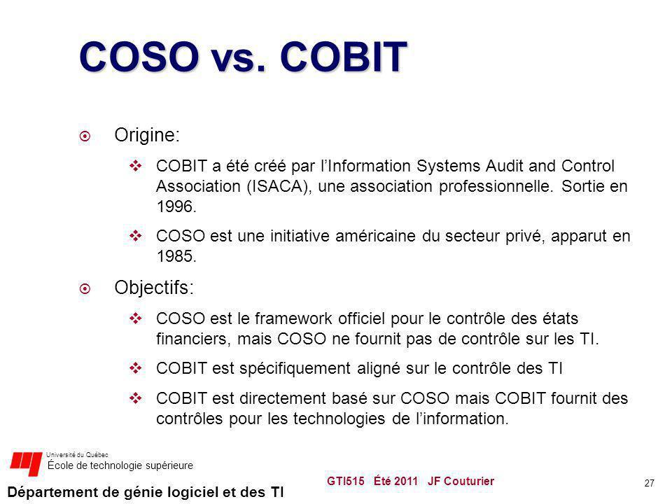 Département de génie logiciel et des TI Université du Québec École de technologie supérieure COSO vs. COBIT Origine: COBIT a été créé par lInformation
