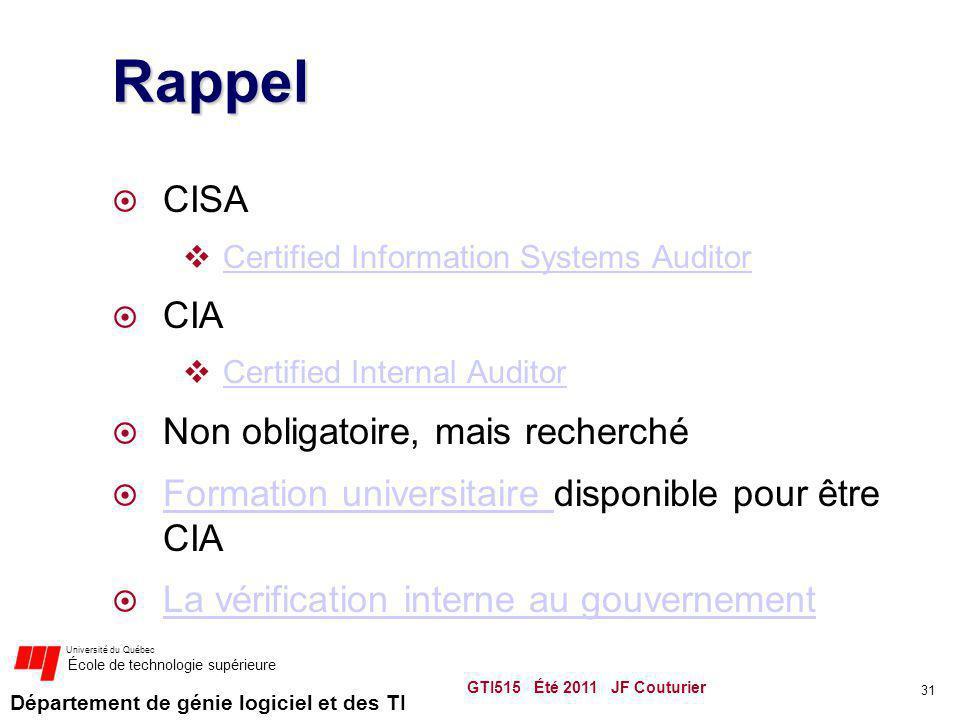 Département de génie logiciel et des TI Université du Québec École de technologie supérieure Rappel CISA Certified Information Systems Auditor CIA Cer