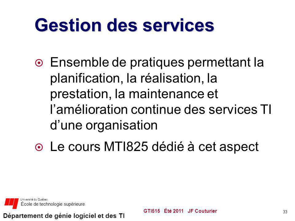 Département de génie logiciel et des TI Université du Québec École de technologie supérieure Gestion des services Ensemble de pratiques permettant la