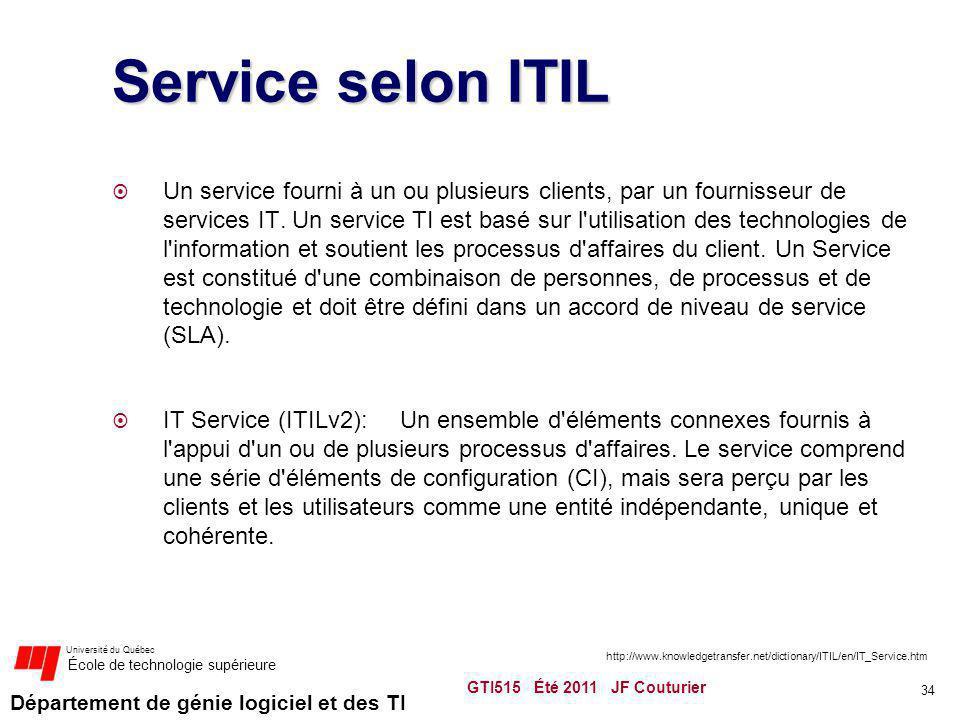 Département de génie logiciel et des TI Université du Québec École de technologie supérieure Service selon ITIL Un service fourni à un ou plusieurs cl