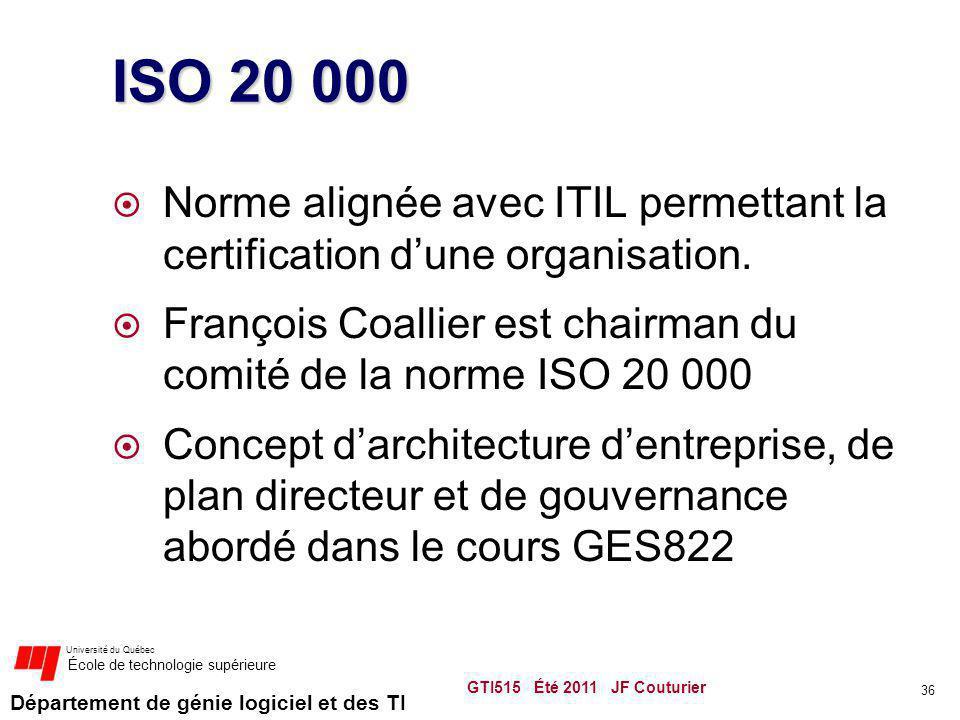Département de génie logiciel et des TI Université du Québec École de technologie supérieure ISO 20 000 Norme alignée avec ITIL permettant la certific