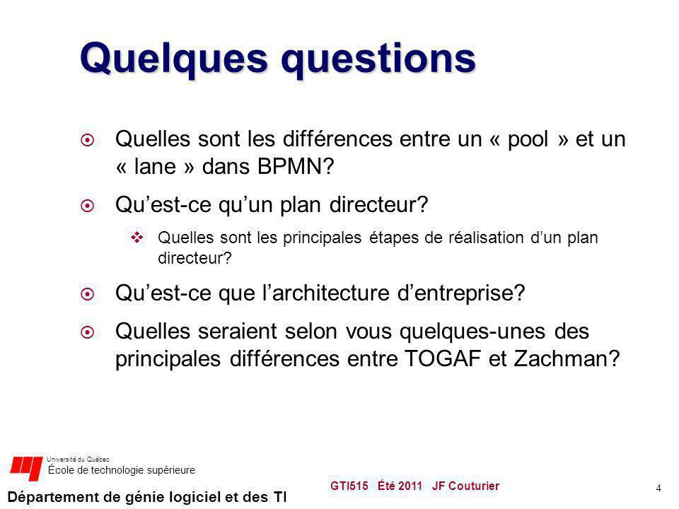 Département de génie logiciel et des TI Université du Québec École de technologie supérieure Quelques questions Quelles sont les différences entre un « pool » et un « lane » dans BPMN.