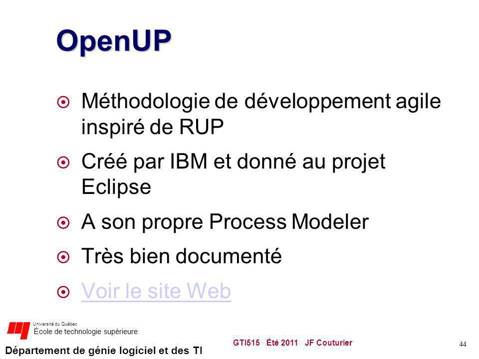 Département de génie logiciel et des TI Université du Québec École de technologie supérieure OpenUP Méthodologie de développement agile inspiré de RUP