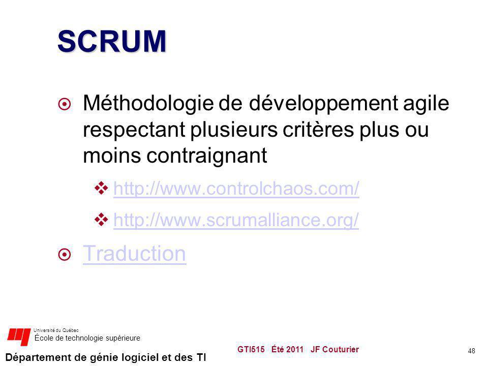 Département de génie logiciel et des TI Université du Québec École de technologie supérieure SCRUM Méthodologie de développement agile respectant plus