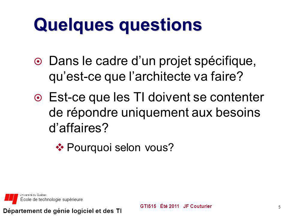 Département de génie logiciel et des TI Université du Québec École de technologie supérieure Quelques questions Dans le cadre dun projet spécifique, q