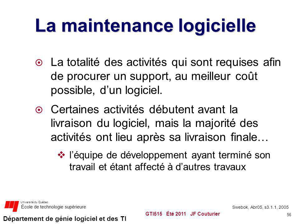 Département de génie logiciel et des TI Université du Québec École de technologie supérieure La maintenance logicielle La totalité des activités qui s
