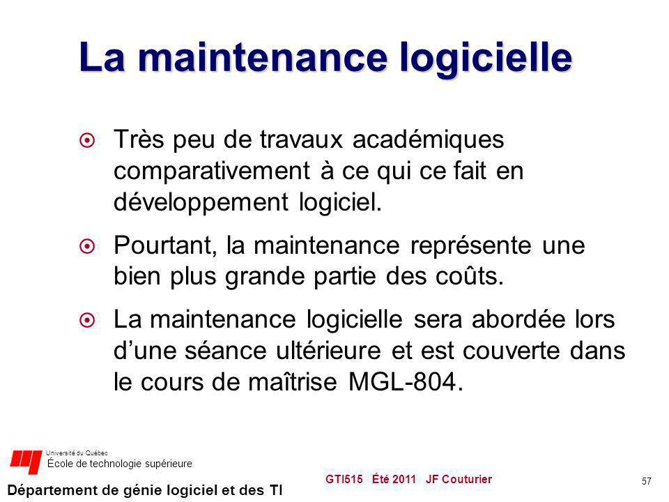 Département de génie logiciel et des TI Université du Québec École de technologie supérieure La maintenance logicielle Très peu de travaux académiques comparativement à ce qui ce fait en développement logiciel.