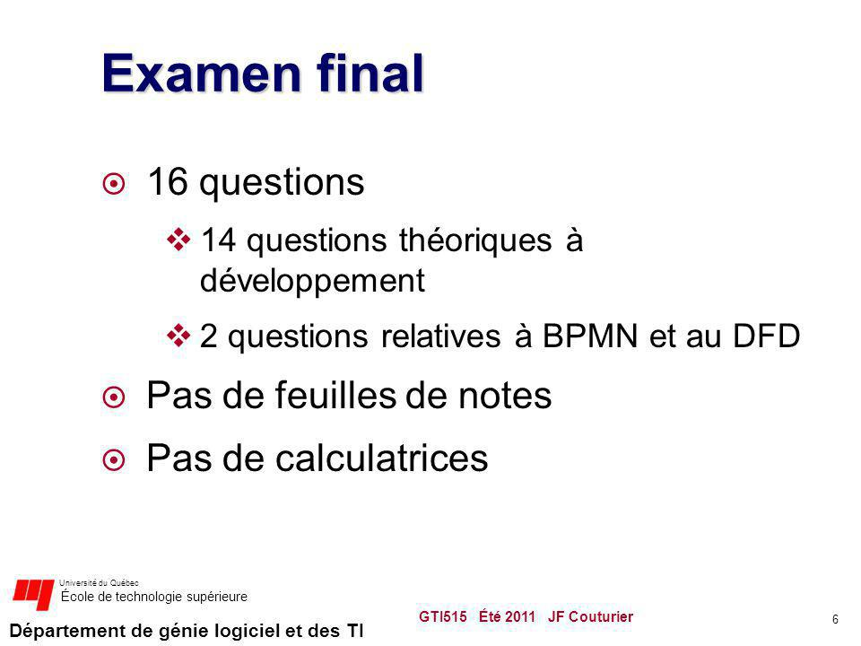 Département de génie logiciel et des TI Université du Québec École de technologie supérieure Examen final 16 questions 14 questions théoriques à dével