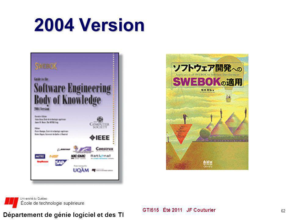 Département de génie logiciel et des TI Université du Québec École de technologie supérieure GTI515 Été 2011 JF Couturier 62 2004 Version