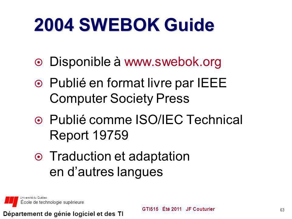 Département de génie logiciel et des TI Université du Québec École de technologie supérieure GTI515 Été 2011 JF Couturier 63 2004 SWEBOK Guide Disponi
