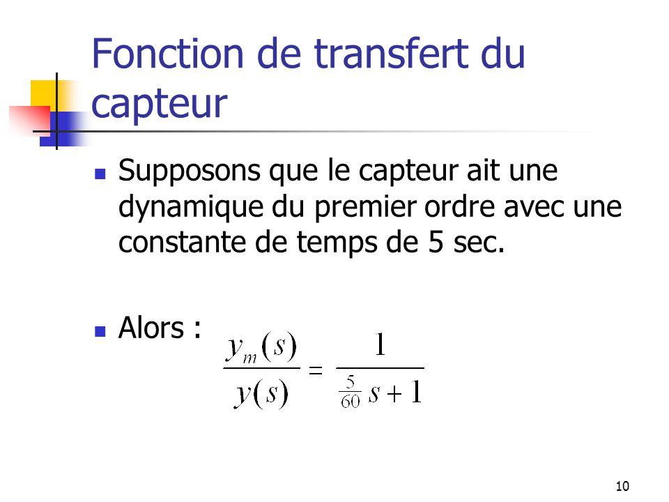 Fonction de transfert du capteur Supposons que le capteur ait une dynamique du premier ordre avec une constante de temps de 5 sec. Alors : 10