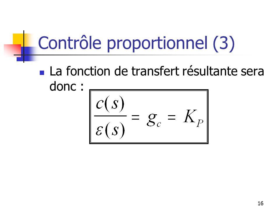 Contrôle proportionnel (3) La fonction de transfert résultante sera donc : 16