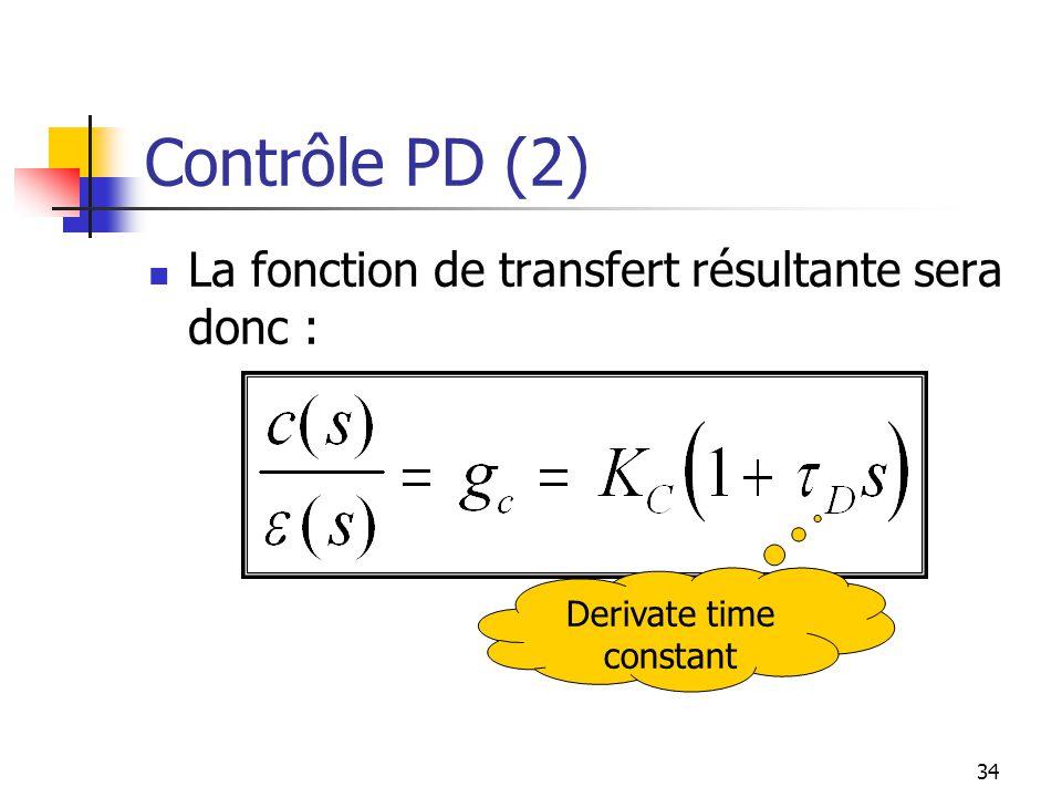 Contrôle PD (2) La fonction de transfert résultante sera donc : Derivate time constant 34