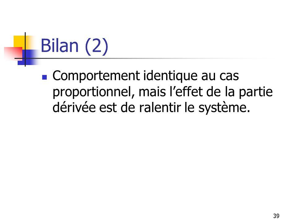 Bilan (2) Comportement identique au cas proportionnel, mais leffet de la partie dérivée est de ralentir le système. 39