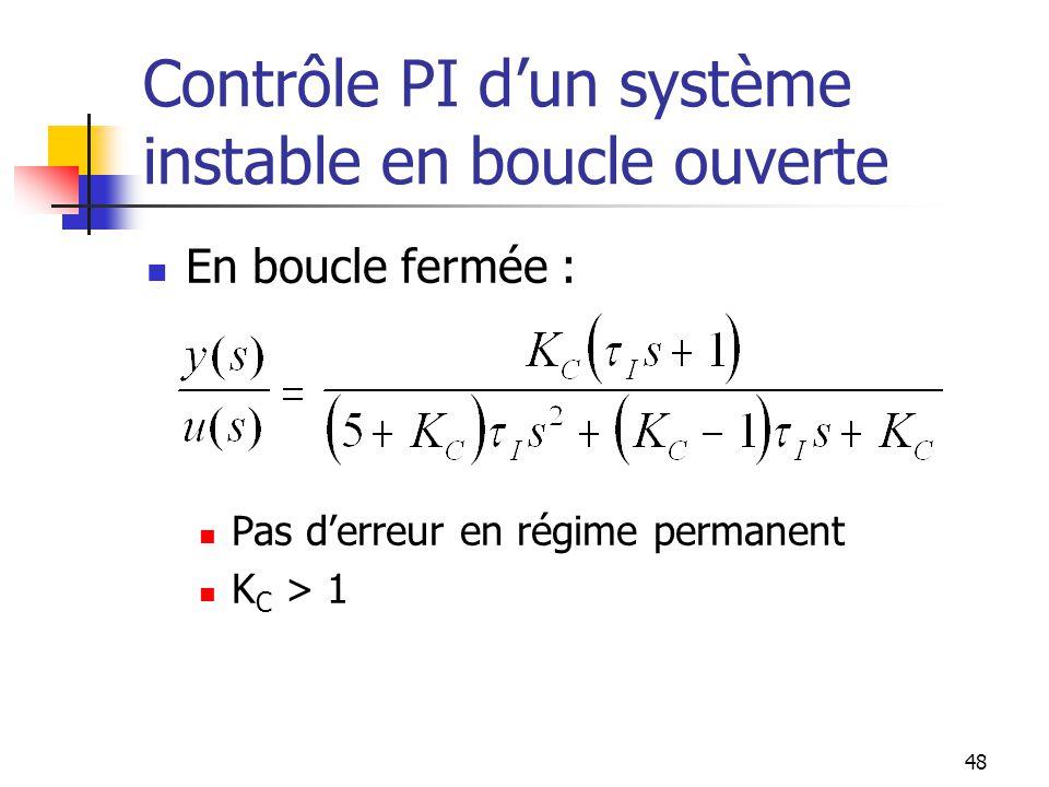 Contrôle PI dun système instable en boucle ouverte En boucle fermée : Pas derreur en régime permanent K C > 1 48