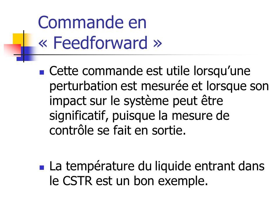 Commande en « Feedforward » Cette commande est utile lorsquune perturbation est mesurée et lorsque son impact sur le système peut être significatif, p