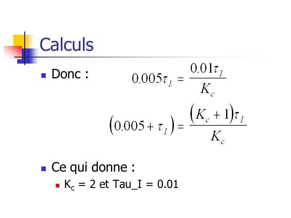 Calculs Donc : Ce qui donne : K c = 2 et Tau_I = 0.01