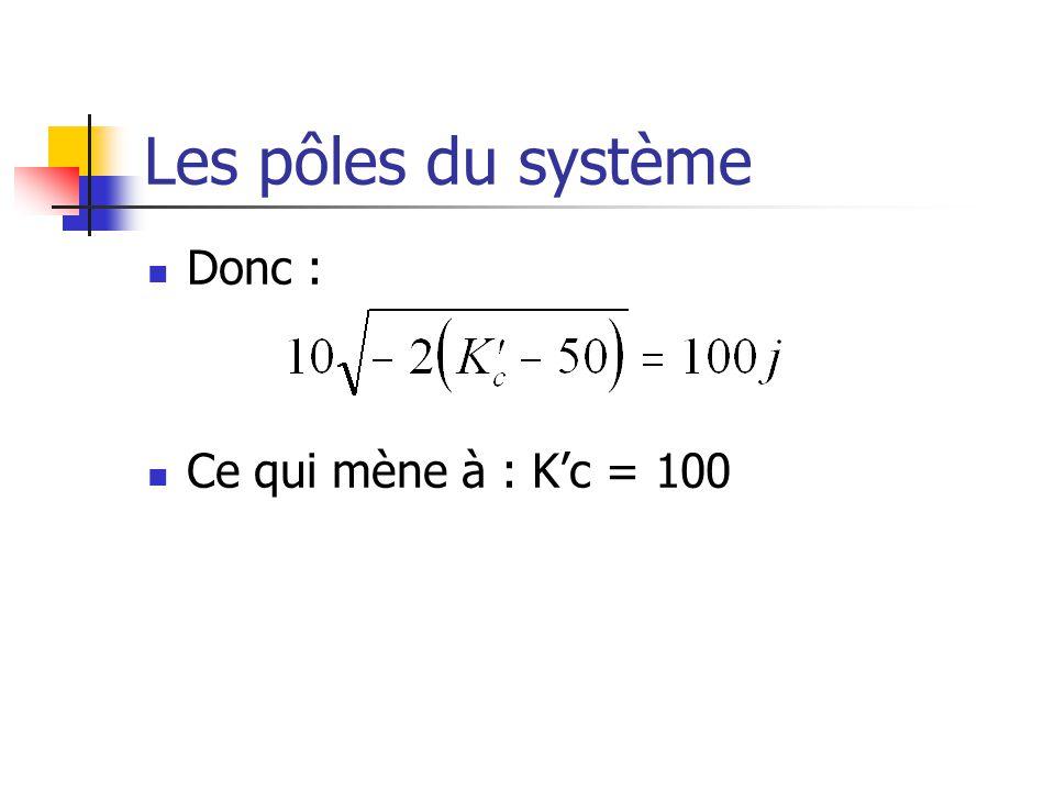 Les pôles du système Donc : Ce qui mène à : Kc = 100