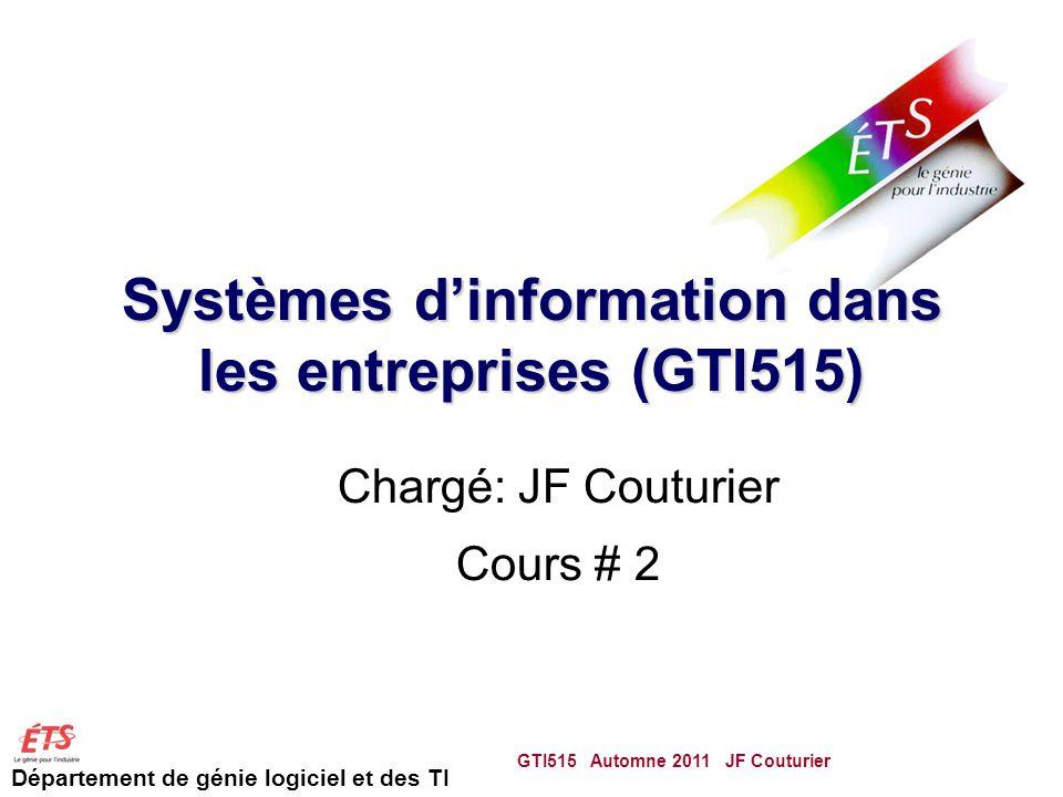 Département de génie logiciel et des TI Systèmes dinformation dans les entreprises (GTI515) Chargé: JF Couturier Cours # 2 GTI515 Automne 2011 JF Couturier 1