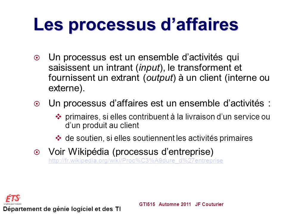 Département de génie logiciel et des TI Les processus daffaires Un processus est un ensemble dactivités qui saisissent un intrant (input), le transforment et fournissent un extrant (output) à un client (interne ou externe).