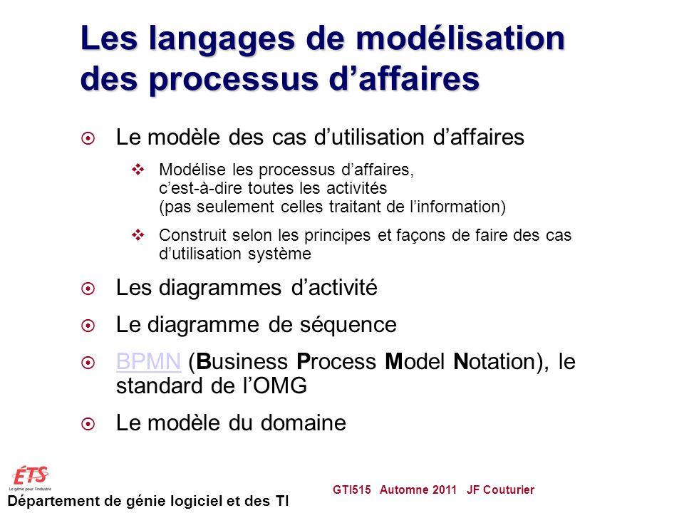 Département de génie logiciel et des TI Les langages de modélisation des processus daffaires Le modèle des cas dutilisation daffaires Modélise les processus daffaires, cest-à-dire toutes les activités (pas seulement celles traitant de linformation) Construit selon les principes et façons de faire des cas dutilisation système Les diagrammes dactivité Le diagramme de séquence BPMN (Business Process Model Notation), le standard de lOMG BPMN Le modèle du domaine GTI515 Automne 2011 JF Couturier 34