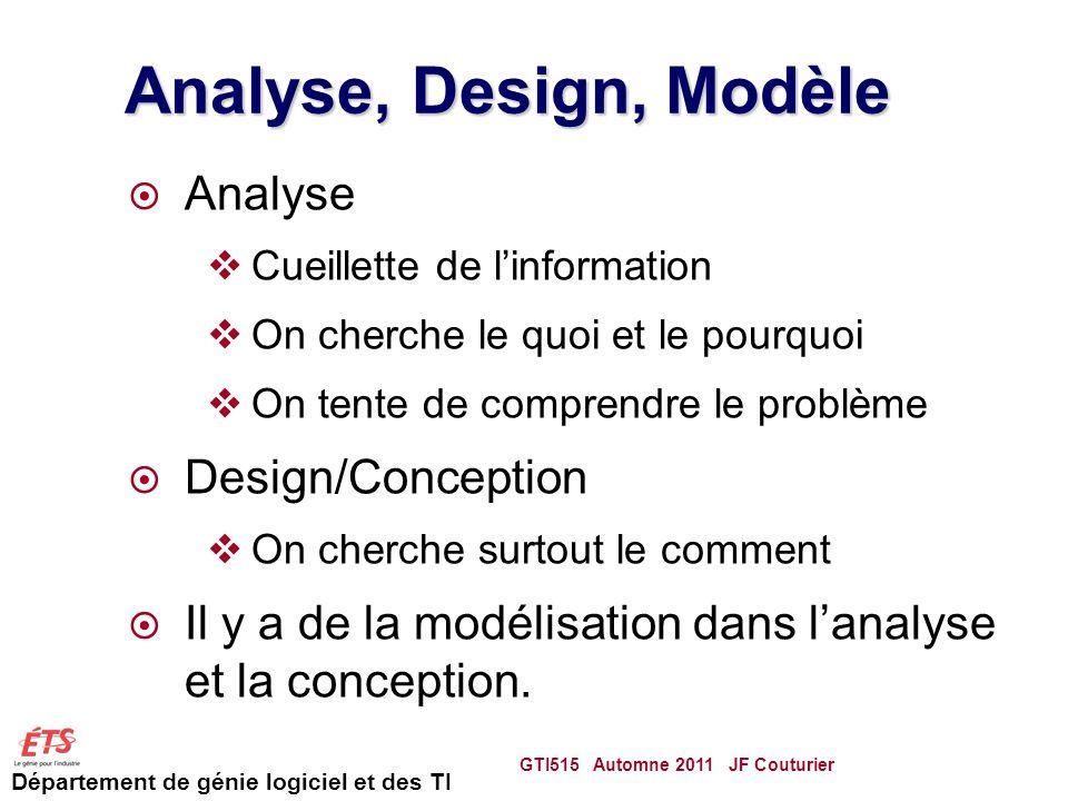 Département de génie logiciel et des TI Analyse, Design, Modèle Analyse Cueillette de linformation On cherche le quoi et le pourquoi On tente de comprendre le problème Design/Conception On cherche surtout le comment Il y a de la modélisation dans lanalyse et la conception.