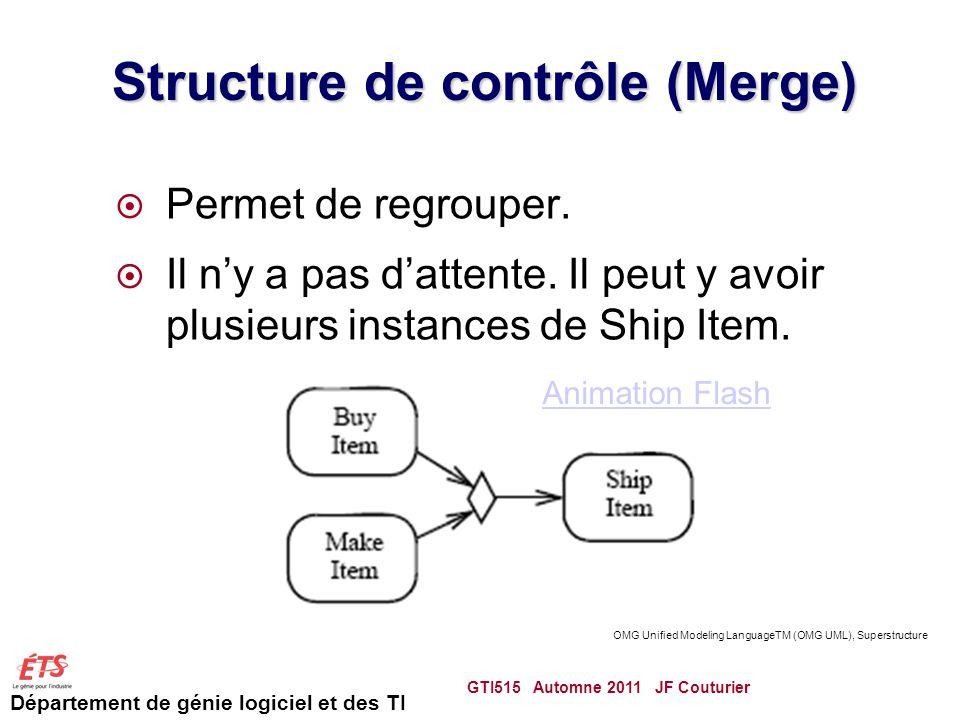 Département de génie logiciel et des TI Structure de contrôle (Merge) Permet de regrouper.