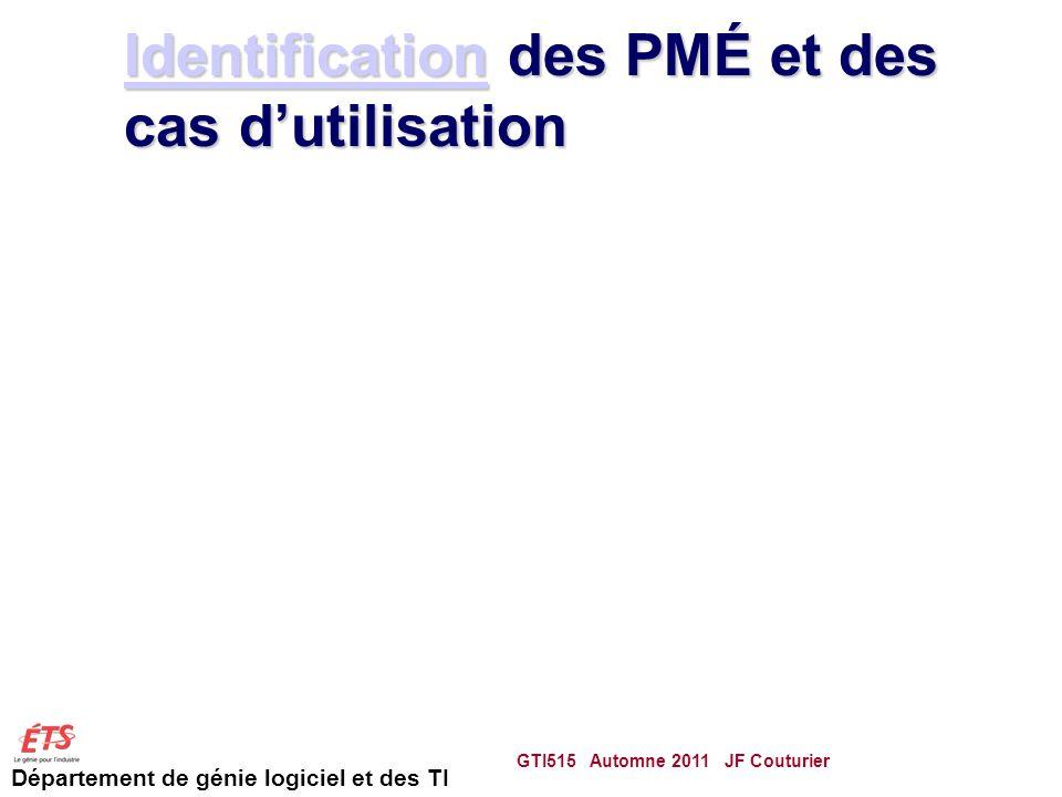 Département de génie logiciel et des TI IdentificationIdentification des PMÉ et des cas dutilisation Identification GTI515 Automne 2011 JF Couturier 68