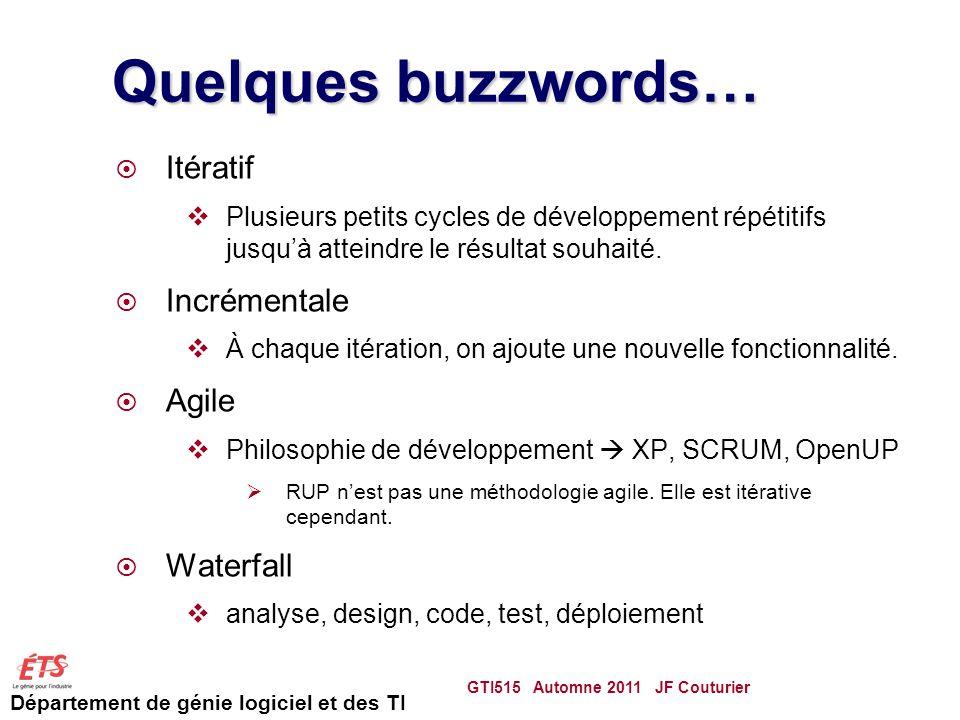 Département de génie logiciel et des TI Quelques buzzwords… Itératif Plusieurs petits cycles de développement répétitifs jusquà atteindre le résultat souhaité.