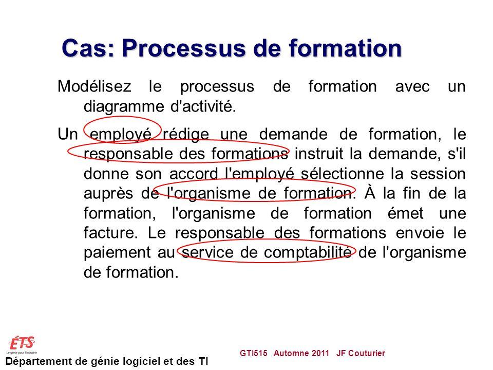 Département de génie logiciel et des TI Cas: Processus de formation Modélisez le processus de formation avec un diagramme d activité.