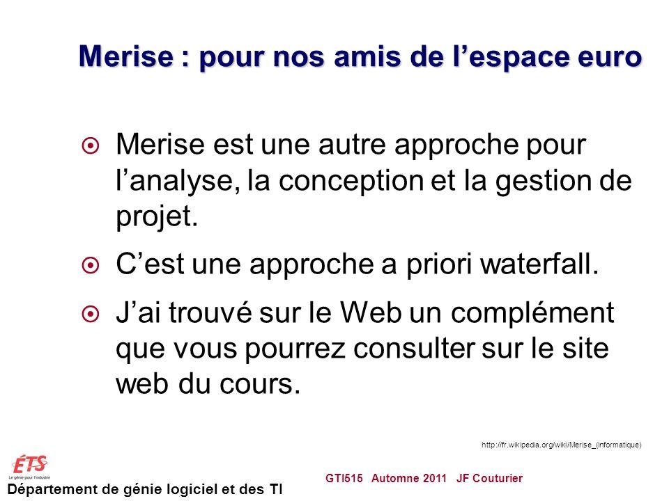Département de génie logiciel et des TI Merise : pour nos amis de lespace euro Merise est une autre approche pour lanalyse, la conception et la gestion de projet.