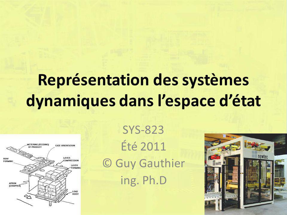 Représentation des systèmes dynamiques dans lespace détat SYS-823 Été 2011 © Guy Gauthier ing. Ph.D
