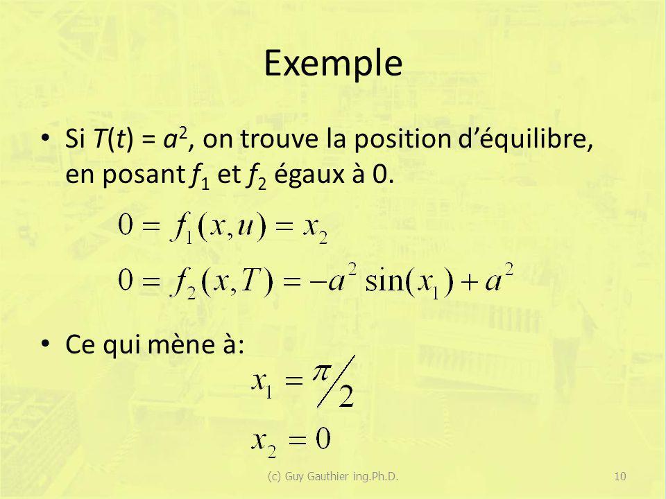 Exemple Si T(t) = a 2, on trouve la position déquilibre, en posant f 1 et f 2 égaux à 0. Ce qui mène à: (c) Guy Gauthier ing.Ph.D.10