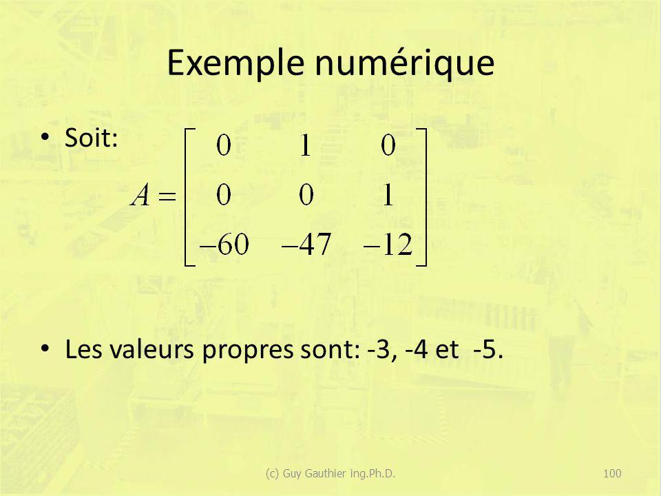 Exemple numérique Soit: Les valeurs propres sont: -3, -4 et -5. 100(c) Guy Gauthier ing.Ph.D.