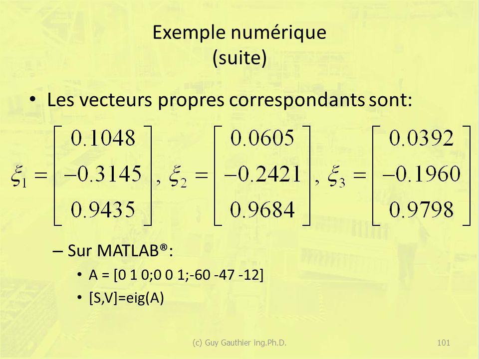 Exemple numérique (suite) Les vecteurs propres correspondants sont: – Sur MATLAB®: A = [0 1 0;0 0 1;-60 -47 -12] [S,V]=eig(A) 101(c) Guy Gauthier ing.