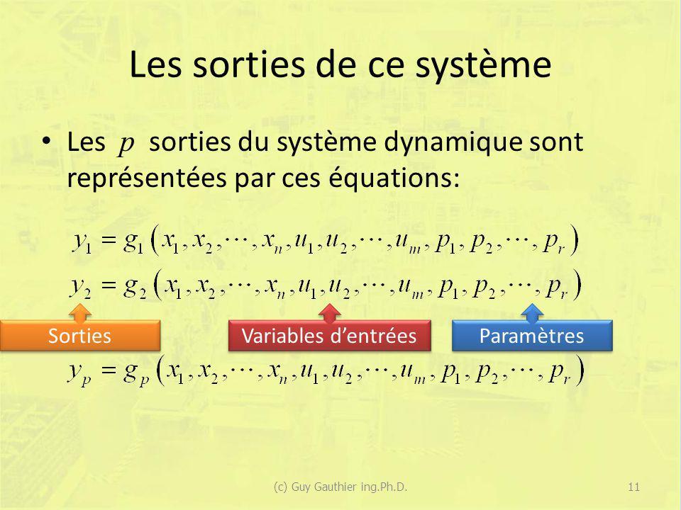 Les sorties de ce système Les p sorties du système dynamique sont représentées par ces équations: (c) Guy Gauthier ing.Ph.D.11 Sorties Variables dentr