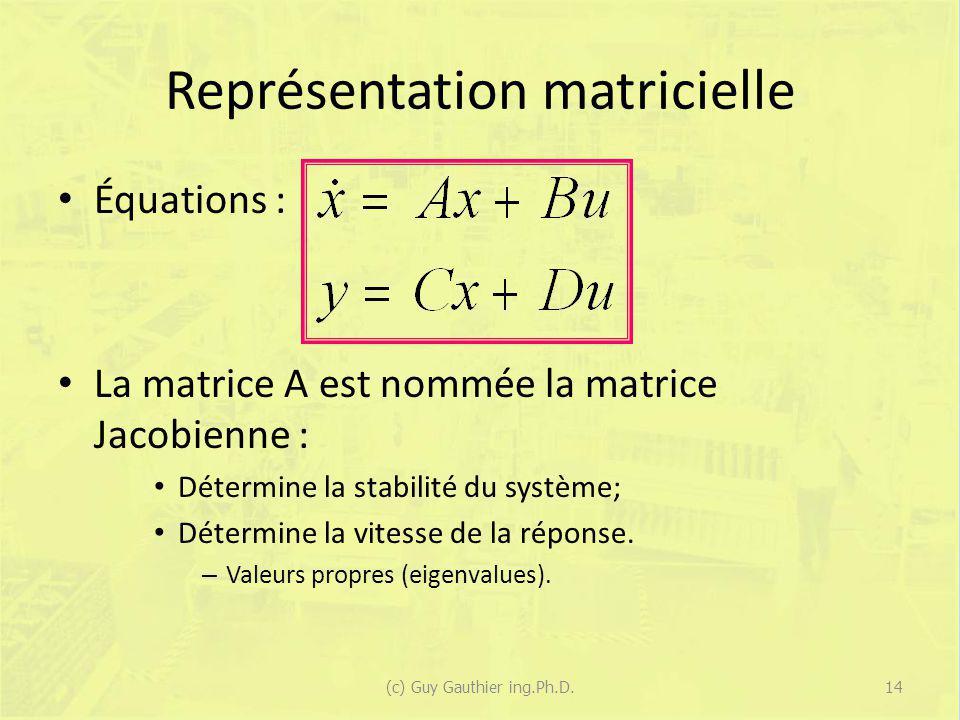 Représentation matricielle Équations : La matrice A est nommée la matrice Jacobienne : Détermine la stabilité du système; Détermine la vitesse de la r