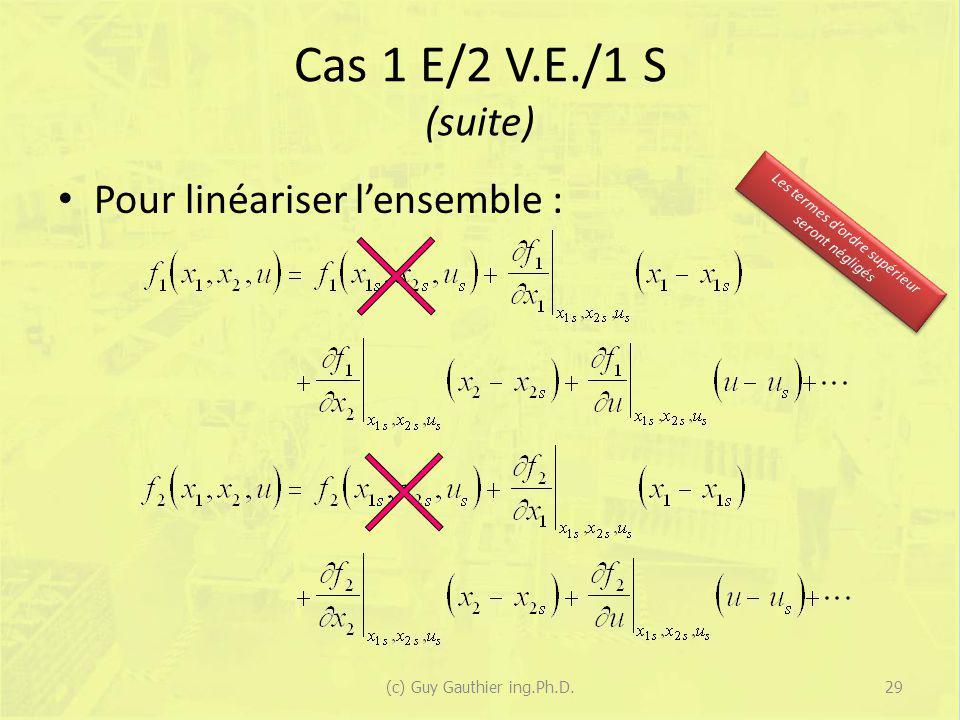 Cas 1 E/2 V.E./1 S (suite) Pour linéariser lensemble : Les termes dordre supérieur seront négligés 29(c) Guy Gauthier ing.Ph.D.