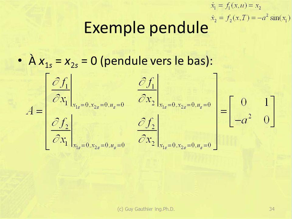 Exemple pendule À x 1s = x 2s = 0 (pendule vers le bas): (c) Guy Gauthier ing.Ph.D.34