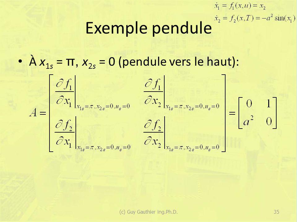 Exemple pendule À x 1s = π, x 2s = 0 (pendule vers le haut): (c) Guy Gauthier ing.Ph.D.35