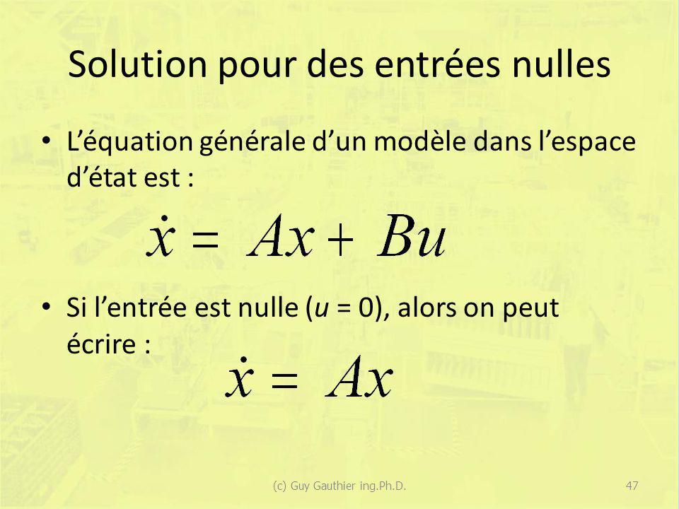 Solution pour des entrées nulles Léquation générale dun modèle dans lespace détat est : Si lentrée est nulle (u = 0), alors on peut écrire : 47(c) Guy