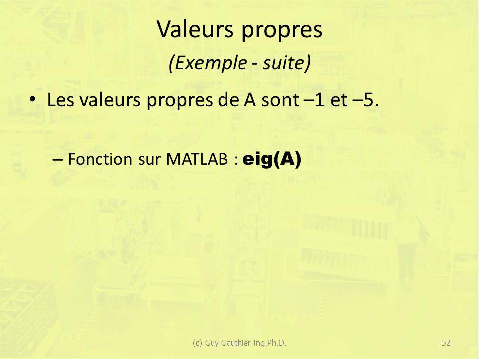 Valeurs propres (Exemple - suite) Les valeurs propres de A sont –1 et –5. – Fonction sur MATLAB : eig(A) 52(c) Guy Gauthier ing.Ph.D.