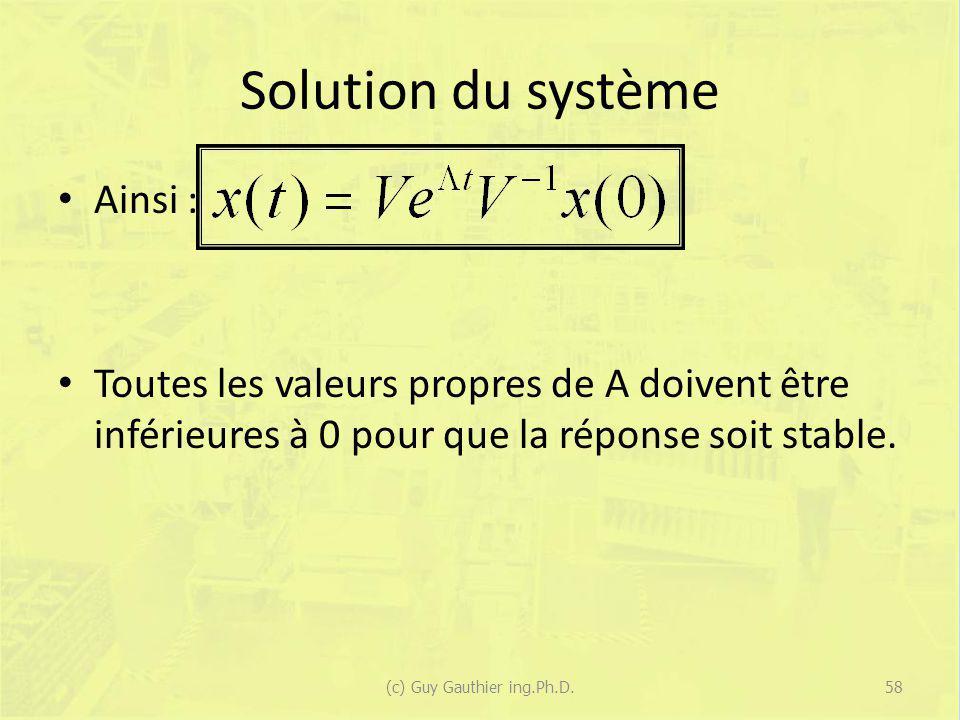 Solution du système Ainsi : Toutes les valeurs propres de A doivent être inférieures à 0 pour que la réponse soit stable. 58(c) Guy Gauthier ing.Ph.D.