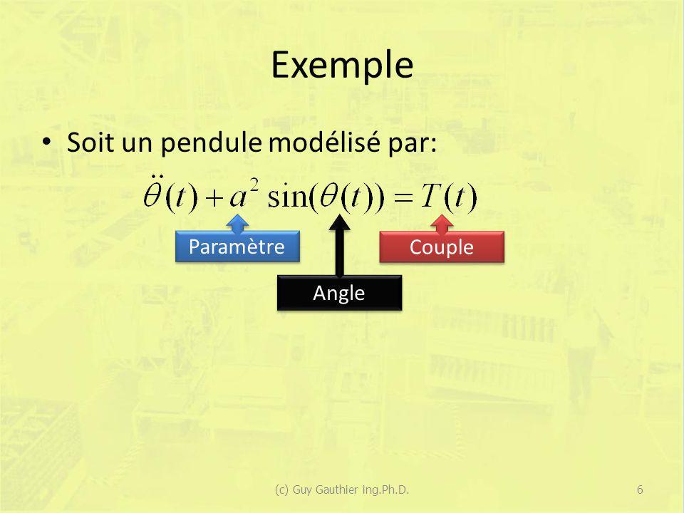 Exemple Soit un pendule modélisé par: États: (c) Guy Gauthier ing.Ph.D.7 Position (Angle) Vitesse