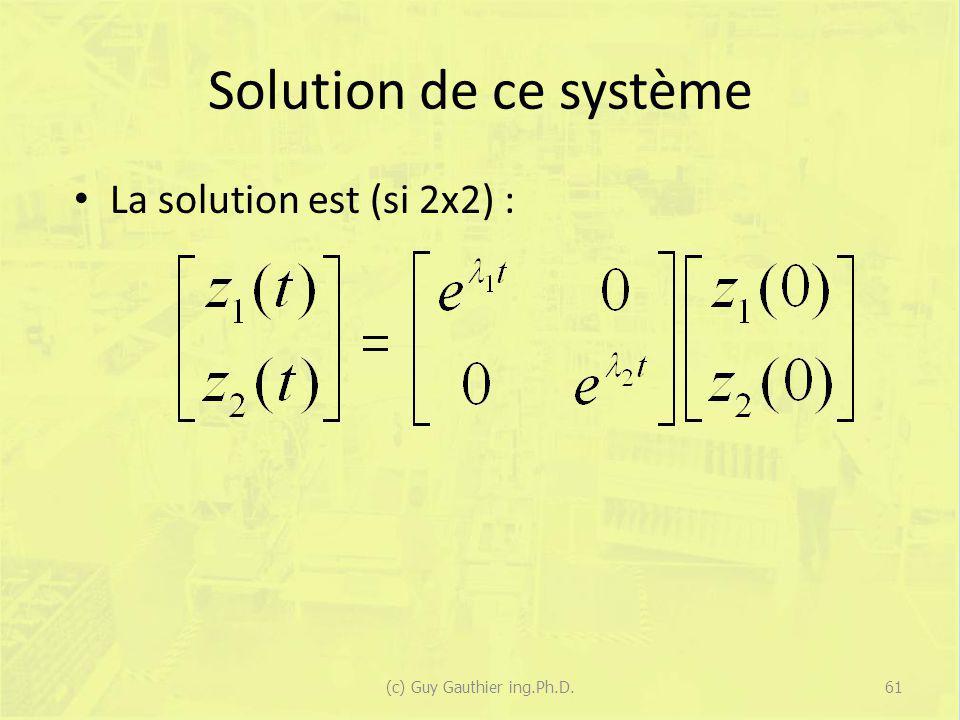 Solution de ce système La solution est (si 2x2) : 61(c) Guy Gauthier ing.Ph.D.