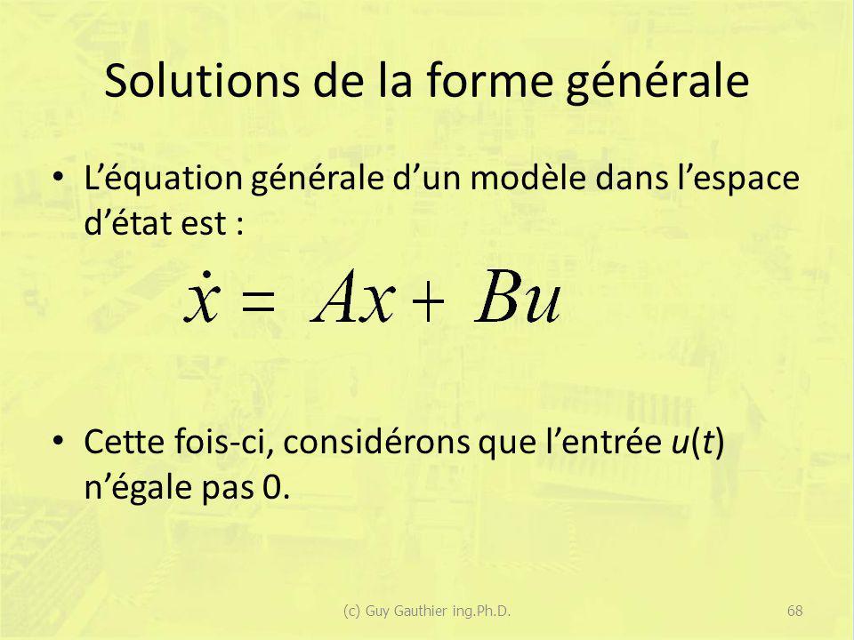 Solutions de la forme générale Léquation générale dun modèle dans lespace détat est : Cette fois-ci, considérons que lentrée u(t) négale pas 0. 68(c)