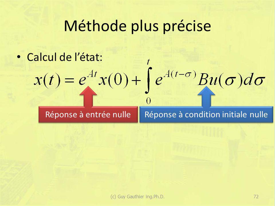 Méthode plus précise Calcul de létat: (c) Guy Gauthier ing.Ph.D.72 Réponse à entrée nulle Réponse à condition initiale nulle