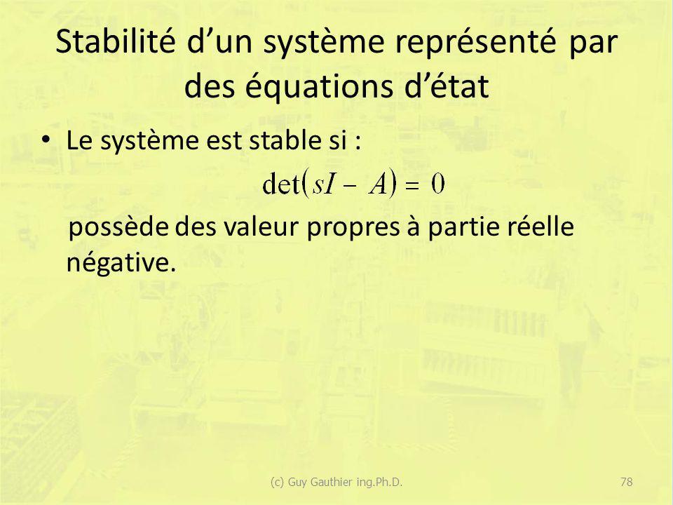 Stabilité dun système représenté par des équations détat Le système est stable si : possède des valeur propres à partie réelle négative. 78(c) Guy Gau