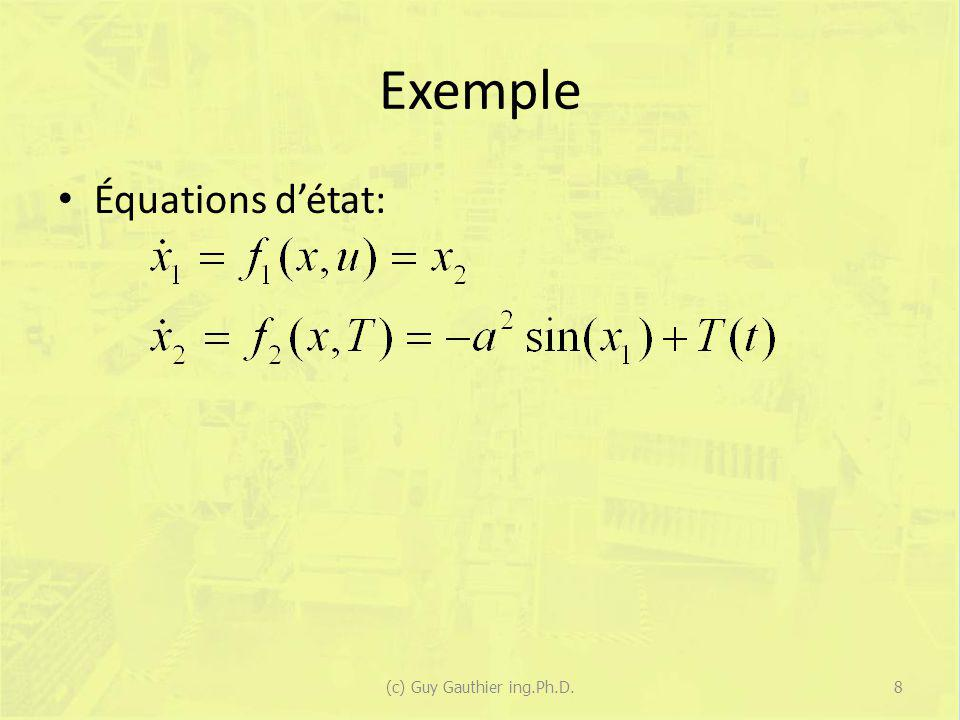 Cas à une variable Pour un système représenté par : La solution est : – Pour u(t) = constante = u(0).