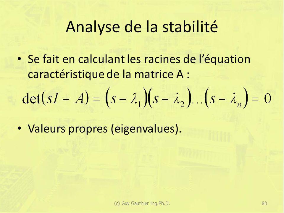 Analyse de la stabilité Se fait en calculant les racines de léquation caractéristique de la matrice A : Valeurs propres (eigenvalues). 80(c) Guy Gauth